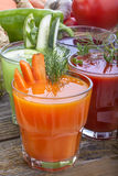Vegetable juices. Healthy vegetable juices of carrot, cucumber, beetroot and tomato stock photos
