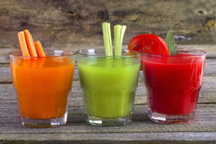 Vegetable juices. Healthy vegetable juices for refreshment and as an antioxidant royalty free stock images