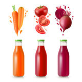 Vegetable Juices Set Stock Photos