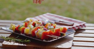 Vegetable kabob on plate close up. Close up of various vegetables with wooden kabob sticks next to rosemary sprig sitting on square plate outdoors stock video footage