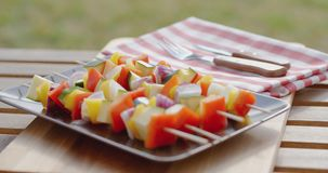 Vegetable kabob on plate close up. Close up of various vegetables with wooden kabob sticks next to rosemary sprig sitting on square plate outdoors stock video