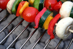Vegetable Kabobs. Various vegetables are cut up and skewered for kabobs on the grill Stock Photo
