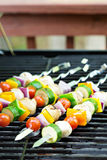 Vegetable kabobs on the grill Royalty Free Stock Photos
