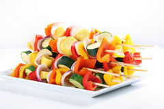 Vegetable kabobs on a plate Stock Photography