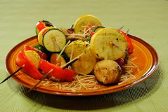 Vegetable kabobs Stock Images