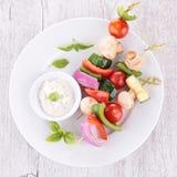 Vegetable kebab and spread cream Stock Photos