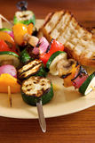 Vegetable kebabs Stock Photos