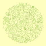 Vegetable kids hand drawing set pattern background circle shape illustration. Isolated on orange color background Royalty Free Stock Photos