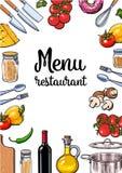 Vegetable, kitchenware cheese and pasta Italian cuisine menu design Stock Image