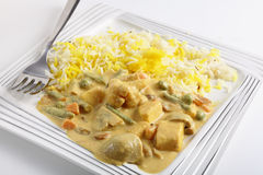 Vegetable korma. Curry with tofu, on a plate with a fork Stock Image