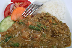 Vegetable korma meal. A plate of vegetable korma vegetarian mushroom curry with rice and salad, viewed close-up Stock Photography