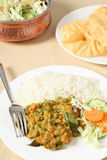 Vegetable korma and salad Stock Photography