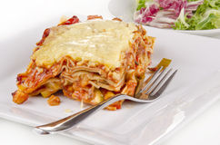 Vegetable lasagna with a fork Stock Image