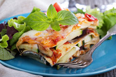 Vegetable lasagna. With zucchini, tomato and eggplant Royalty Free Stock Images