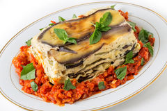 Vegetable lasagne plate Royalty Free Stock Photos