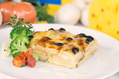 Vegetable lasagne on a white plate Royalty Free Stock Photography