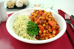 Vegetable And Lentil Hotpot With Couscous Stock Photography