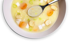 Vegetable letter soup Stock Photos