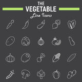 Vegetable line icon set, food symbols collectio Stock Photos