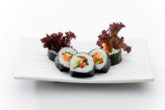 Vegetable maky. Japanese restaurant food image, isolated on white, ideal for Menu royalty free stock photos