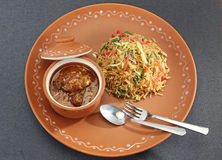 Vegetable Manchurian with Fried Rice Royalty Free Stock Image