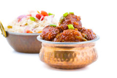 Vegetable Manchurian and Fried Rice Royalty Free Stock Images