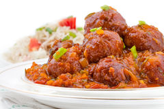 Vegetable Manchurian and Fried Rice Stock Photo