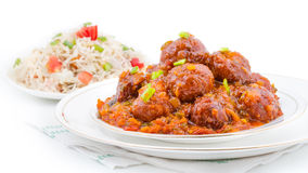 Vegetable Manchurian and Fried Rice Stock Photos