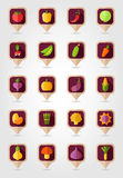 Vegetable mapping pins icons with long shadow Stock Photos
