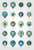 Vegetable mapping pins icons with long shadow Royalty Free Stock Photo