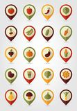 Vegetable mapping pins icons with long shadow Stock Photography