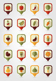 Vegetable mapping pins icons with long shadow Stock Images