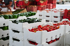 Vegetable Market. Fresh vegetables wait for buyers in vendor's stalls in the Middle East Stock Photography
