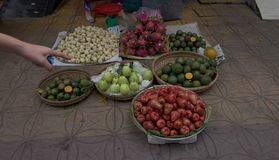 Vegetable market in Can Tho, Vietnam. A vegetable market on the footpath in Can Tho in the Mekong Delta region of Vietnam Stock Photography