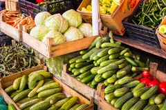 Vegetable on the market counter Royalty Free Stock Photos