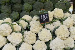 Vegetable market in open-air market. Vegetable market in open-air market with broccoli and cauliflower and price of the products royalty free stock images