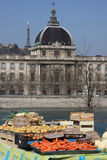 Vegetable market on Rhone banks Royalty Free Stock Photo