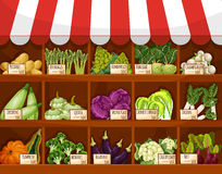 Vegetable market stall with fresh veggies Stock Photo