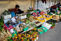 Vegetable market stall at morning market in the old town of Hida Takayama, Japan Stock Photos