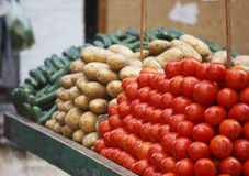Vegetable in the market. Vegitable over two wheel car in traditional market ,Egypt Royalty Free Stock Images