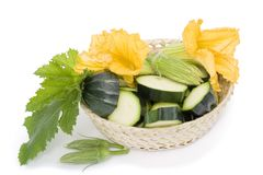 Vegetable marrow in basket Royalty Free Stock Photos