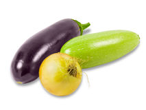 Vegetable marrow, eggplant and onion Royalty Free Stock Images