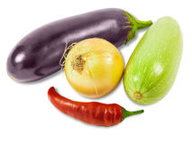 Vegetable marrow, onion, eggplant and pepper chilly Royalty Free Stock Photos