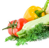 Vegetable marrow, two tomatoes and pepper, lie on a dill on whit Stock Image