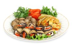 Vegetable marrows, eggplants, mushrooms Stock Images