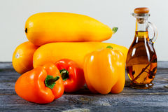 Vegetable marrows  paprika and olive oil Royalty Free Stock Photography