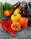 Vegetable marrows  paprika and olive oil Stock Photo