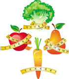 Vegetable with measuring tape Stock Photos