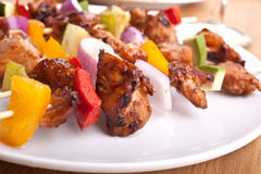 Vegetable and meat grilled kebabs Stock Photography