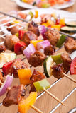 Vegetable and meat kebabs Royalty Free Stock Photography